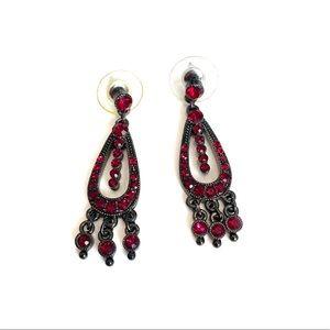 Red stone vintage dangle earrings